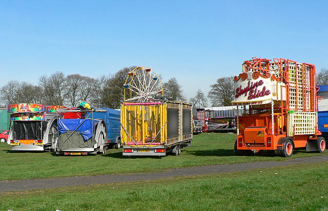 Fairground being set up next to Nuns Moor Park