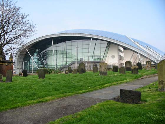 The Sage Gateshead from St. Mary's churchyard.